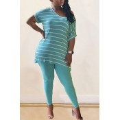 lovely Leisure V Neck Striped Blue Plus Size Two-p