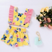 lovely Sweet Butterfly Print Yellow Girl Two-piece
