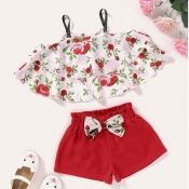 lovely Sweet Plants Print Red Girl Two-piece Shorts Set