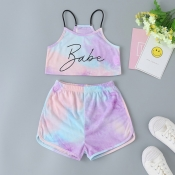 lovely Casual Letter Print Light Purple Girl Two-piece Shorts Set