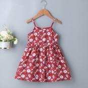 lovely Sweet Floral Print Red Girl Knee Length Dre