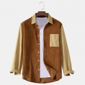lovely Casual Turndown Collar Patchwork Brown Shir