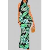 Lovely Bohemian Plants Print Green Maxi Dress