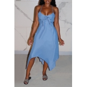 lovely Trendy Knot Design Asymmetrical Baby Blue M