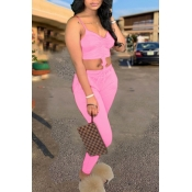 lovely Sexy Fold Design Pink Two Piece Pants Set
