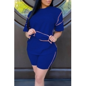 lovely Leisure O Neck Patchwork Blue Two Piece Shorts Set