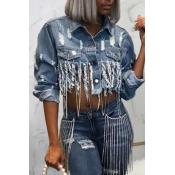 lovely Trendy Tassel Design Blue Denim Jacket