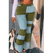 lovely Stylish Patchwork Green Jeans