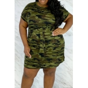 lovely Casual Camo Print Army GreenMini Plus Size