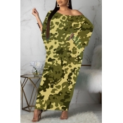 lovely Casual Print Army GreenAnkle Length Plus S