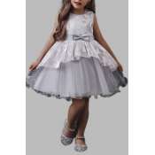lovely Sweet Layered Cascading Ruffle Grey Girl Kn
