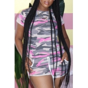 lovely Sportswear Camo Print Pink Plus Size Two-pi