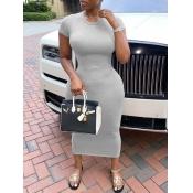 lovely Casual O Neck Skinny Grey Mid Calf Dress