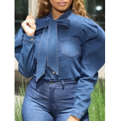 lovely Sweet Lace-up Fold Design Blue Denim Blouse