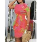lovely Trendy Tie-dye Pink Knee Length Dress