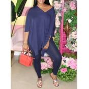 lovely Casual V Neck Side Slit Blue Two Piece Pant