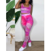 lovely Trendy Tie Dye Rose Red Two Piece Pants Set