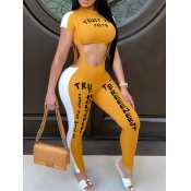 lovely Sportswear Letter Patchwork Yellow Two Piec