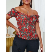 lovely Trendy Dew Shoulder Floral Print Red Blouse