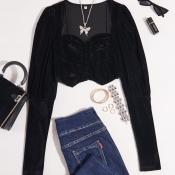 lovely Trendy Puffed Sleeves Black Blouse