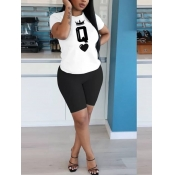 lovely Casual O Neck Print White Two Piece Shorts
