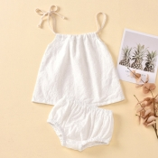 lovely Casual Spaghetti Strap White Girl Two-piece