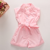 lovely Stylish Buttons Design Pink Girl One-piece