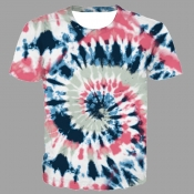 lovely Street O Neck Tie-dye Light Pink T-shirt