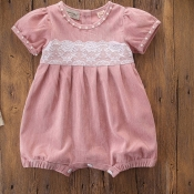 lovely Sweet Lace Patchwork Pink Girl One-piece Ro