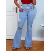 lovely Casual Broken Holes Baby Blue Jeans (With H