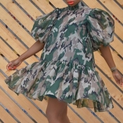 Lovely Stylish Camo Pritn Army Green Mini Dress