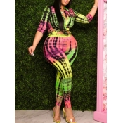 Lovely Casual Print Green Plus Size Two-piece Pant