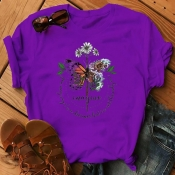 Lovely Leisure O Neck Print Purple Plus Size T-shi