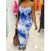 lovely Trendy Tie-dye Baby Blue Ankle Length Dress