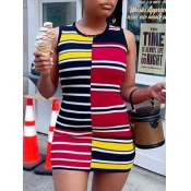 Lovely Casual Striped Patchwork Multicolor Mini Dr