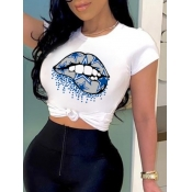 lovely Casual O Neck Lip Print White T-shirt