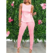 Lovely Sexy Lace-up Fold Design Pink Two Piece Pan
