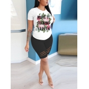 lovely Casual O Neck Letter Print White Two Piece Shorts Set