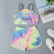 lovely Casual Letter Print Multicolor Girl Two-pie
