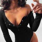 lovely Casual Buttons Design Black Bodysuit