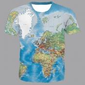 lovely Leisure O Neck Print Blue T-shirt