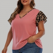 lovely Casual Print Patchwork Dusty Pink Plus Size