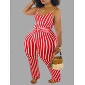 lovely Trendy Striped Red Plus Size One-piece Jump