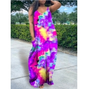 Lovely Leisure V Neck Tie-dye Purple Maxi Dress