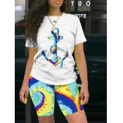 Lovely Leisure O Neck Print Blue Two-piece Shorts
