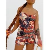 Lovely Trendy Spaghetti Strap Print Brown Mini Dress