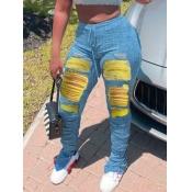 lovely Street Broken Holes Fold Design Yellow Jean