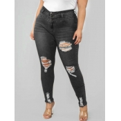 lovely Casual Hollow-out Black Plus Size Jeans