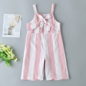 lovely Leisure Striped Knot Design Pink Girl One-p