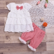 lovely Casual Lace Hem White Girls Two-piece Short
